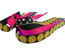 Softball Glitter Ponytail Hair Streamer Bow for Girls, Player, Match Team Colors
