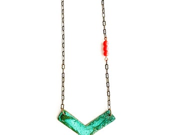 Patina and Red Bead Necklace