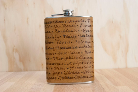 Custom Flask - Leather Personalized Flask in the Smokey Pattern in Antique Brown - Handmade 8oz Hip Flask