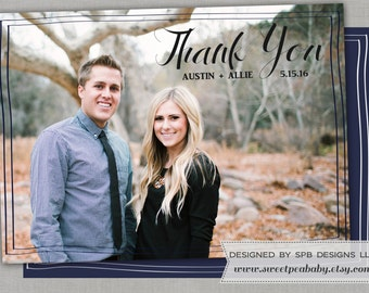 Wedding Thank You Card -- CLASSIC THANK YOU -- Customization with your wording, colors and photo