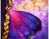 Rapunzel and Lanterns - Tangled Disney Princess Fairytale Wall Art - Painting by Annya Kai -  8x10, 11x14, 12x16 Print