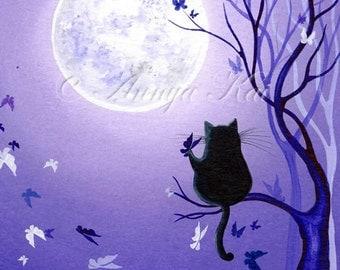 Cat Art Print, Cat Poster, Cat Wall Decor, Cat Wall Art, Cat Silhouette Print, Watercolor Cat, Watercolor Print, Archival Print