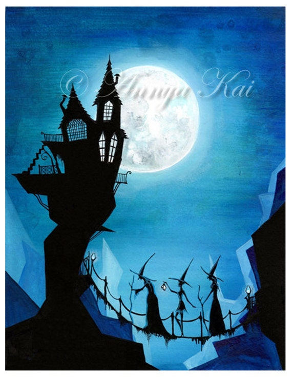 Witch Painting - Witch Watercolor - Witch Art - Witch Decor - Witchy Sisters and a Blue Moon - Pagan Goddess Art - 8x10 Print