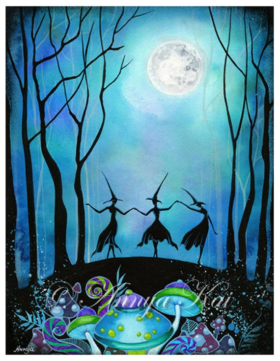 Witches Dancing Under the Moon - Halloween Haunted Mushroom Forest Woodland Fairy - Halloween Wall Decor Art - Witch Home Decor