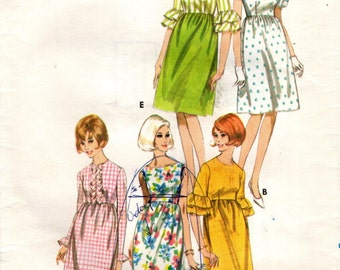 Butterick 3909 High Waist Dress VINTAGE ©1965