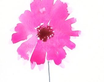 """Watercolor print of a gerbera/gerber daisy: """"Pink Gerbera"""""""