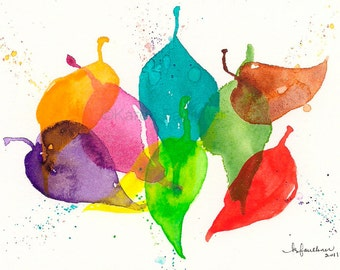 "Watercolor art print of colorful dancing leaves: ""Playful Leaves"""