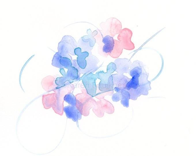 "Original watercolor flower painting: ""Flowers and Flourish"""