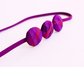 Purple and Hot Pink - Skinny Headband - Three Button Headband - Hair Candy by Gazzu