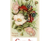Personalized Bookplates - Red Butterfly - Beautiful Vintage Gift, Mother's Library, Ex Libris