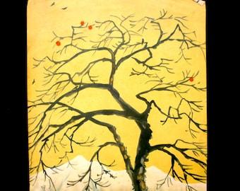 Winter Scene Vintage Print Persimmon Tree Mountain Japanese Magazine Cut Out