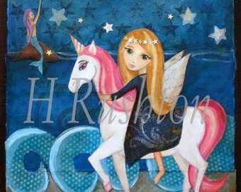 Unicorn Art- Children's Decor- Unicorn Decor- Print on Canvas- Children's Art on Canvas