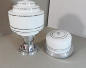 Vintage Kitchen Fixtures Pair Milk Glass and Chrome Beauties
