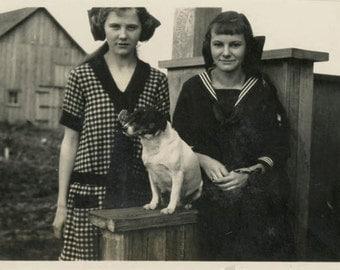 Vintage photo 1924 Teenage Girls w Terrier Dog by Farmhouse Porch