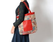 Red blue tote bag with leather details, Geometric patterned tote bag, Red shopping bag, Fabric and leather bag, Gift for women, MALAM