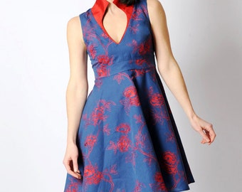 Blue cocktail dress, Blue and red dress, Blue embroidered dress, V neck dress, Floral womens dress, Flared blue dress, High collar dress