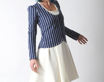 Striped fitted jacket, Blue and white jersey jacket with long sleeves, Nautical jacket, Womens clothing, Womens jackets,, YOUR SIZE