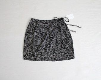 mini wrap skirt | black floral skirt