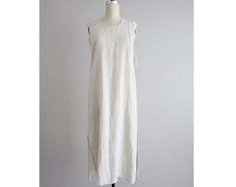 flax linen dress | vintage flax dress | neutral linen dress