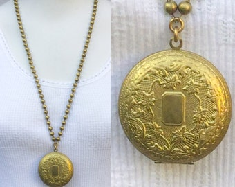 Vintage Large locket necklace.*BULK DISCOUNT* Brass etched Pill Box. Secret compartment. chunky Ball chain. Gold patina. NOS. deadstock N22