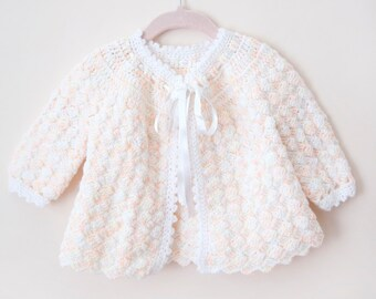 Vintage Baby Sweater / Baby Cardigan / Peach Yellow Sweater / Vintage Handmade Sweater