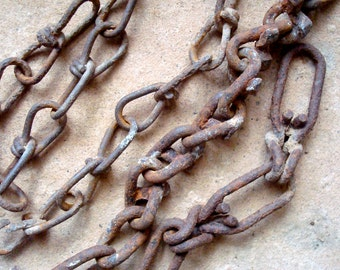 Rusty Metal Textured Chains Links Chain Sections Found Objects Supplies for Assemblage, Altered Art , Sculpture - Industrial Salvage