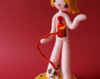 Print: Anatomical Female A with Puppy  - doll anatomy specimen red needle felted felt art plush toy photograph dog