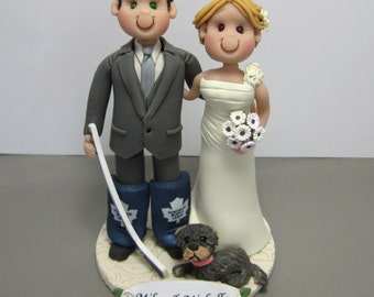 DEPOSIT for a Customized Hockey player Wedding Cake Topper figurine Decoration