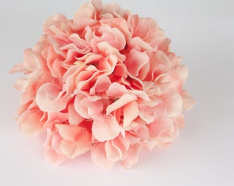 Silk Flower Hydrangeas - 60 Large Hydrangea Petals in Coral - Artificial Flower Hydrangeas - ONE Hydrangea Head - ITEM 0132