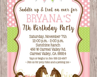 PRINTABLE Horse Birthday Party Invitation / Pony Invitation / Pony Party / Pink, Green and Blue Pony Party / You Print