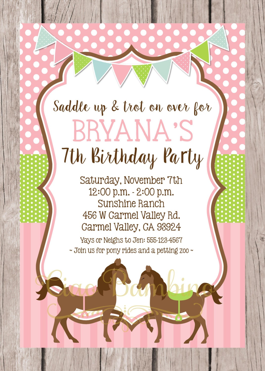 Refreshing image intended for horse birthday invitations free printable
