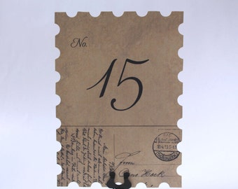 Aged Wedding Table Numbers, Post Card Wedding Numbers, Rustic Table Number Signs