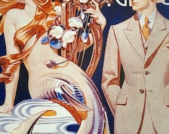 LEYENDECKER 20X24 MERMAID DECO pinup Unusual rare pin-up Modern Art Mid Century giclee Mermaids 1930s Vanguard Gallery