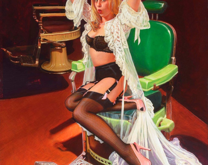 "Featured listing image: SHEER DELIGHT a ""Vancas Girl"" Pin-Up Daniel VANCAS famous for Elvgren, Vargas Style Pinup Original Painting Barber Chair Lingerie Stockings"