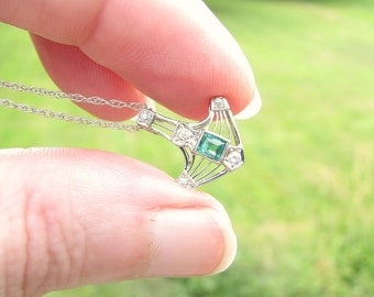 Art Deco Emerald Diamond Pendant Necklace, Fiery Old European Cut Diamonds, Bright Green Emerald, Elegant Details, 18K and 14K White Gold