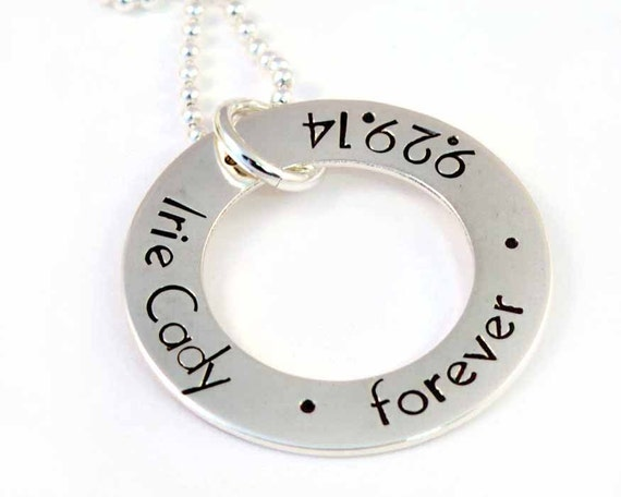 Adoption Necklace Large Washer Sterling Silver Finalization Forever Family Hand Stamped Necklace