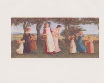 Vintage Kate Greenaway Book Plate Art Print - Springtime