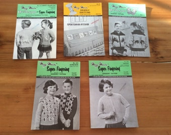 Vintage Mary Maxim Knitting Patterns. Graph Style Patterns - Kids Sweaters. Alphabet Cardigan, Rodeo Horse, Goose & Egg, plus Afghan Blanket
