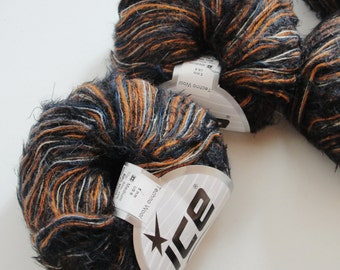 13 balls of Ice Yarn 50/ wool 50/ Polyamide Art Yarn Knitting projects Large destash lot, orange, black, grey, cream, dark blue
