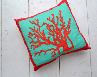 Coral Applique Pillow