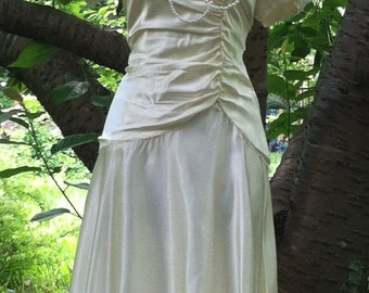 Vintage wedding dress cream ivory satin puff sleeves off shoulder 40's style   romantic  small  by vintage opulence on Etsy