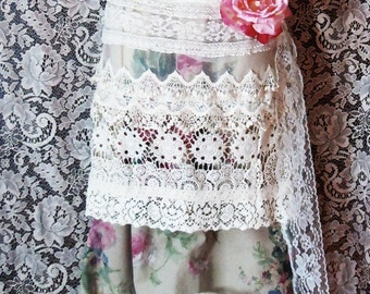 Floral tulle  dress wedding roses lace  crochet vintage  bohemian romantic small by vintage opulence on Etsy