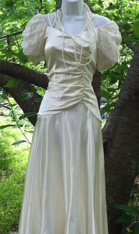 Vintage wedding dress cream ivory satin puff sleeves off for Puff sleeve wedding dress