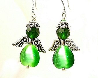 Green Angel Earrings, Guardian Angel Earrings, Spiritual Jewelry - E2012-28