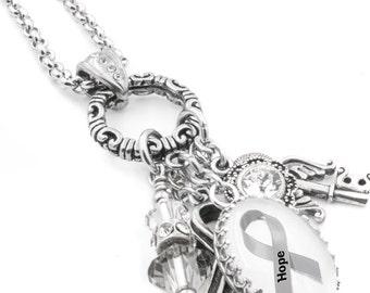Diabetes Awareness Necklace, Charm Necklace, Diabetes Jewelry, Personalized Diabetes Necklace, Gray Awareness Ribbon