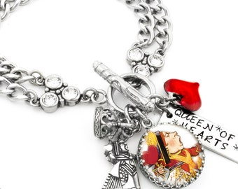 Queen of Hearts Bracelet, Alice in Wonderland, Queen Bracelet, Heart Bracelet, Alice Queen