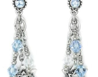 Star of David Jewelry - Holiday Earrings - Blue Crystal Earring - Hanukkah Jewelry - Dangle Earrings - Ice Blue Earrings