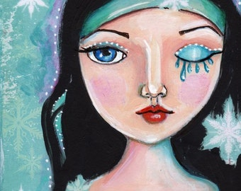 Fantasy face, Home Decor, Winter Art,Snowflake, Original painting, small painting,
