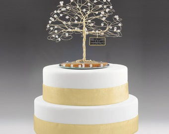 "Personalized 50th Anniversary Cake Topper Tree Gift Idea Clear Swarovski Crystal Elements on Gold 7"" x 7"""