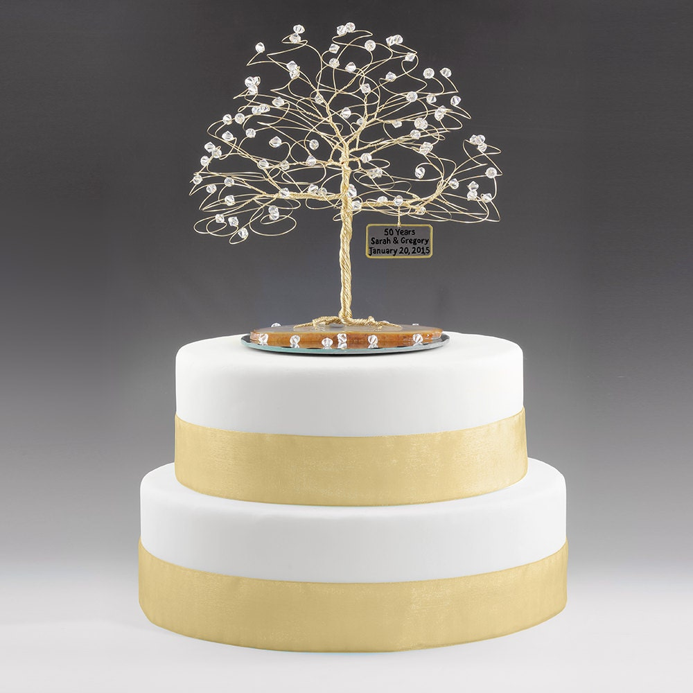 wedding cake toppers for 50th anniversary personalized 50th anniversary cake topper tree gift idea clear 26468